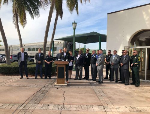 Brightline President and COO Patrick Goddard and community leaders highlight rail safety at a press conference on Friday in Boca Raton
