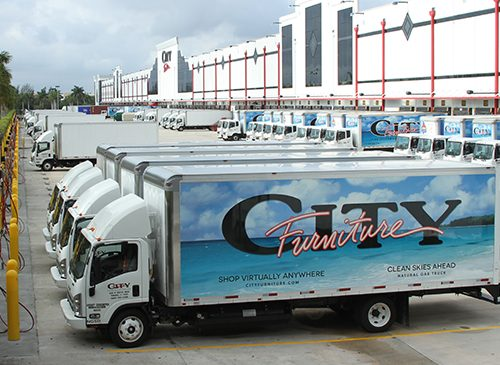 City Furniture CNG trucks at the company's headquarters in Tamarac