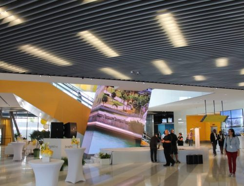 The ground floor of MiamiCentral includes an eye catching video wall