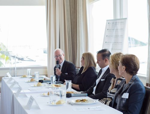 Moderator Alex Freund spices up the South Florida Executive Roundtable with his quick wit