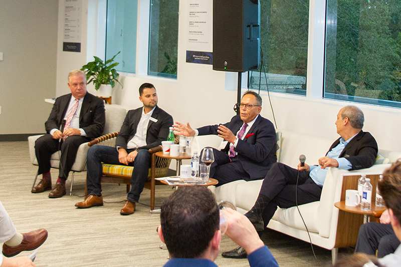 Panelists Randy Parker of MDLive, Adrian Barrios of DPR Construction, Benjamin Frosch of Frosch Medical Compliance and moderator Gary Press of SFBW