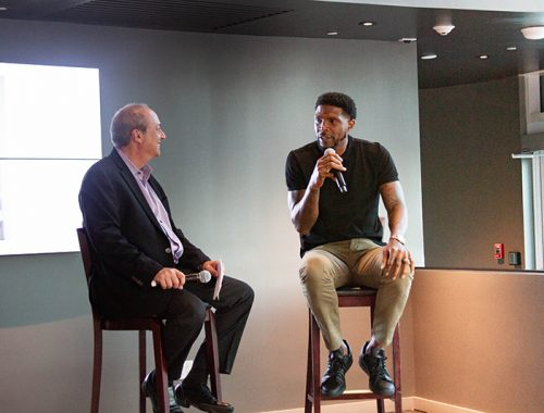 SFBW Chairman and CEO Gary Press interviews entrepreneur and Heat player Udonis Haslem at 601 Miami at the AmericanAirlines Arena. (Photo by Evelyn Suarez)