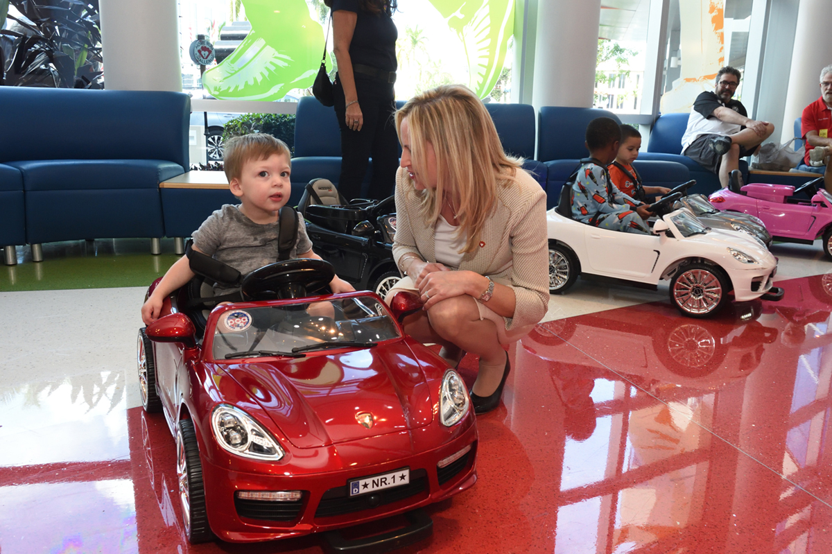 When kids are discharged, they can ride out in remote control cars (powered by staff members) as a fun send-off