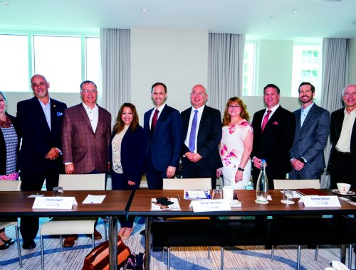 The panelists, sponsor representatives and SFMA partner, from left to right: Sharon McCall, Craig Tanner, Chuck Lowell, Yamilet Ramirez, Andrew Shelton, Fernando Mesia (sponsor), Betsy McGee, Matthew Rocco (South Florida Manufacturers Association), Jean-Charles Mas and Jay Hess.