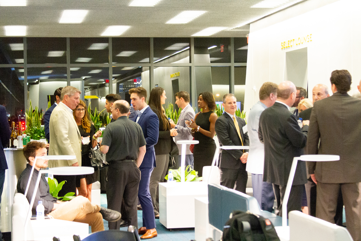 Guests, sponsors and panelists network at Brightline in Fort Lauderdale