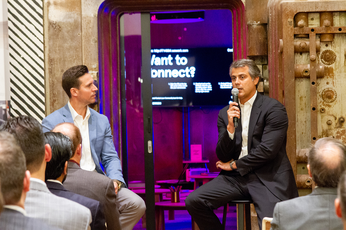 SFBW Associate Publisher Clayton Idle interviews Marcelo Kingston, managing partner of Multiplan Real Estate Asset Managment, at WeWork's Security Building