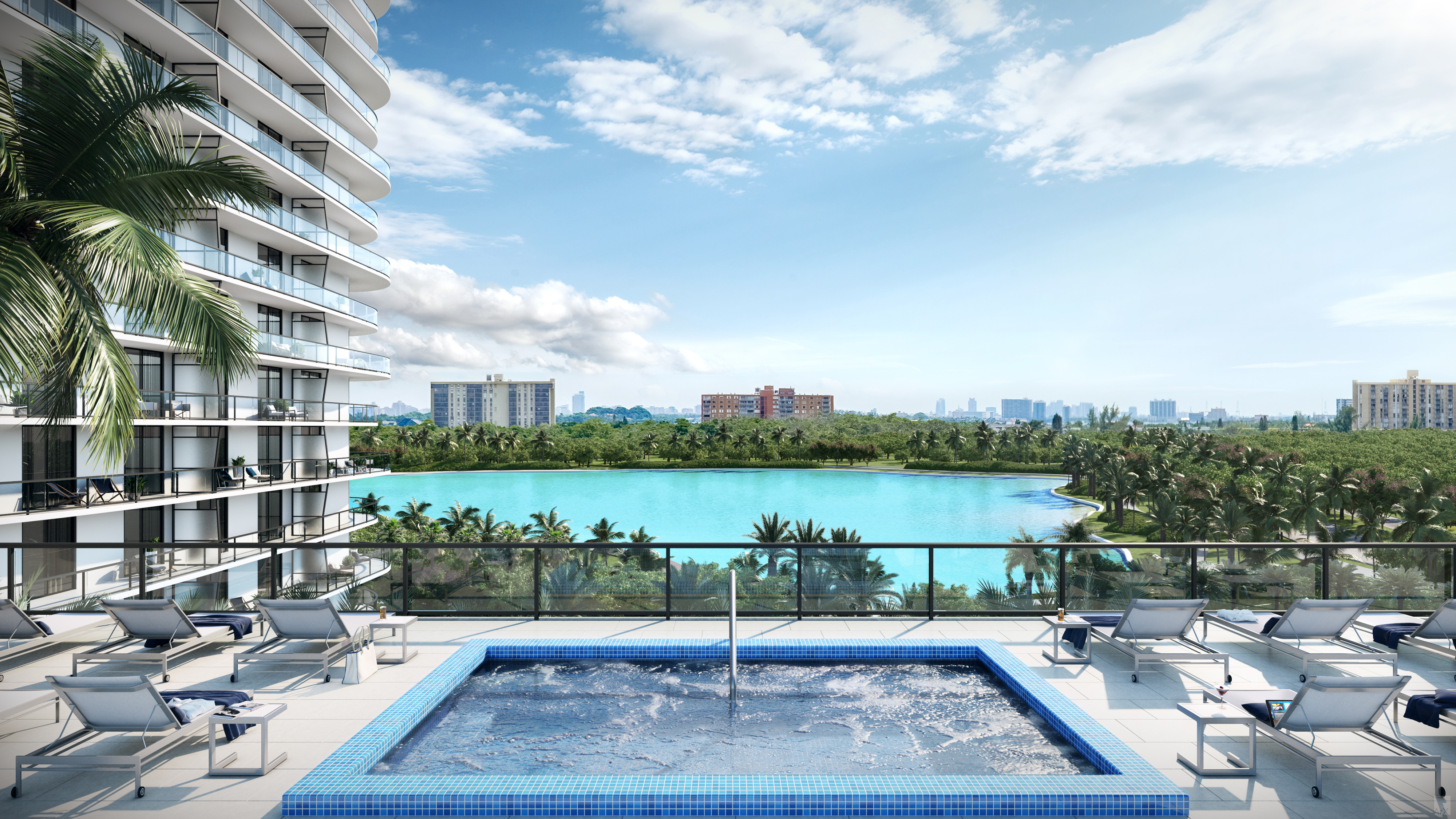 The elevated pool deck at Solé Mia will have a view of South Florida's first Crystal Lagoon