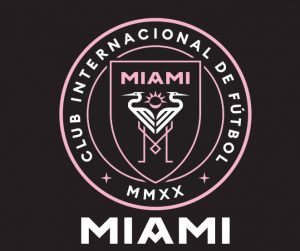 The logo for Inter Miami, which is the shortened version of Club Internacional de Futbol Miami