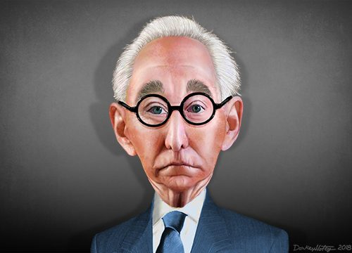 A Photoshop caricature of Roger Stone on Wikimedia Commons