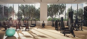 The fitness room with Peletons