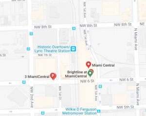 Map showing the Brightline MiamiCentral station is next to the Metrorail Historic Overtown/Lyric Theatre Station