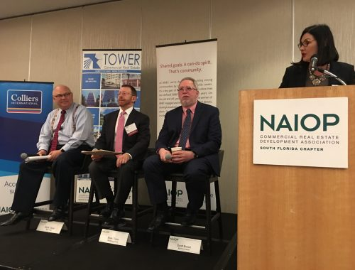 NAIOP Panelists Mark Vitner, Mark Troen and Scott Brown with NAIOP President and moderator Darcie Lunsford