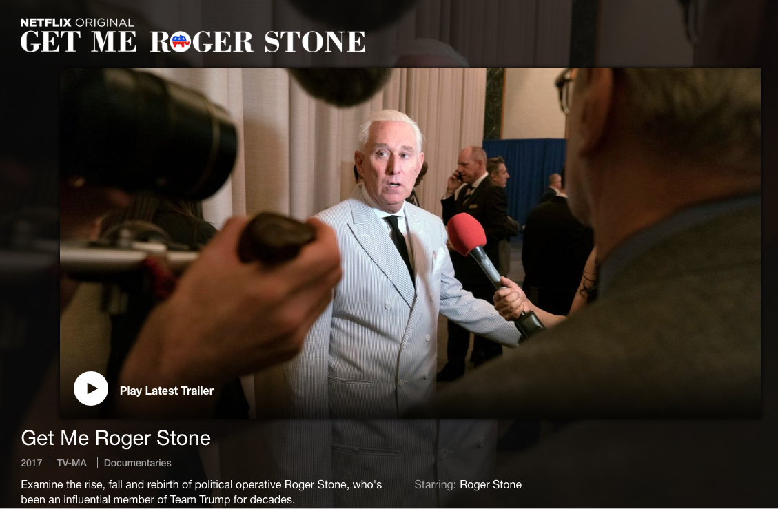 Netflix has a website for its movie about Roger Stone
