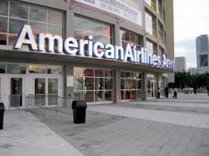 AmericanAirlines Arena sign over entry way