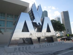 American Airlines logo outside AmericanAirlines Arena