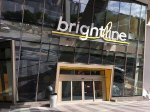 The Brightline station in downtown Miami (Photo by Phillip Pessar via Wikimedia Commons)