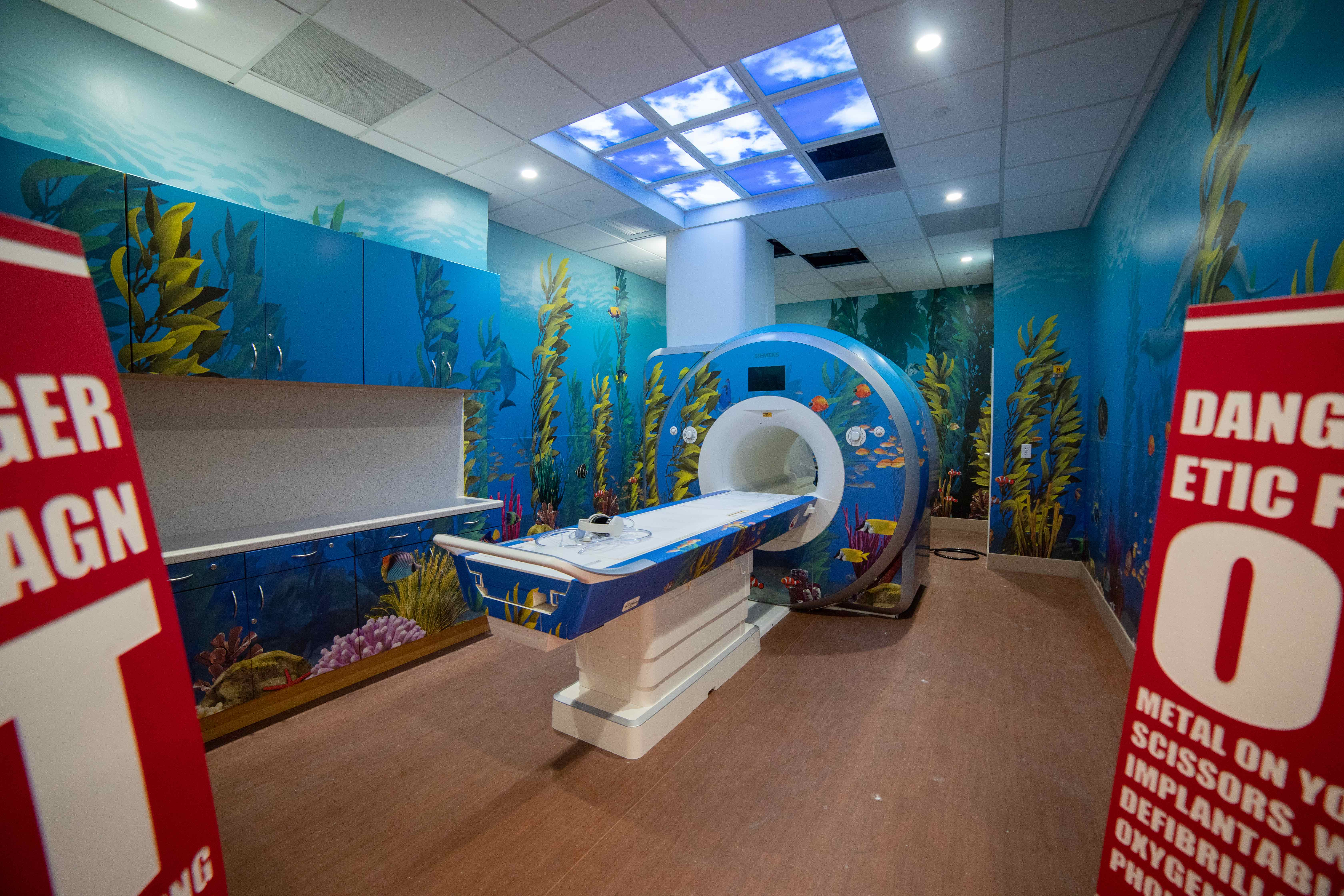 An MRI in a an underwater theme