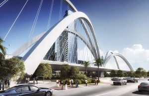 Signature bridge looking southwest from the intersection of NE 13 Street and Biscayne Blvd