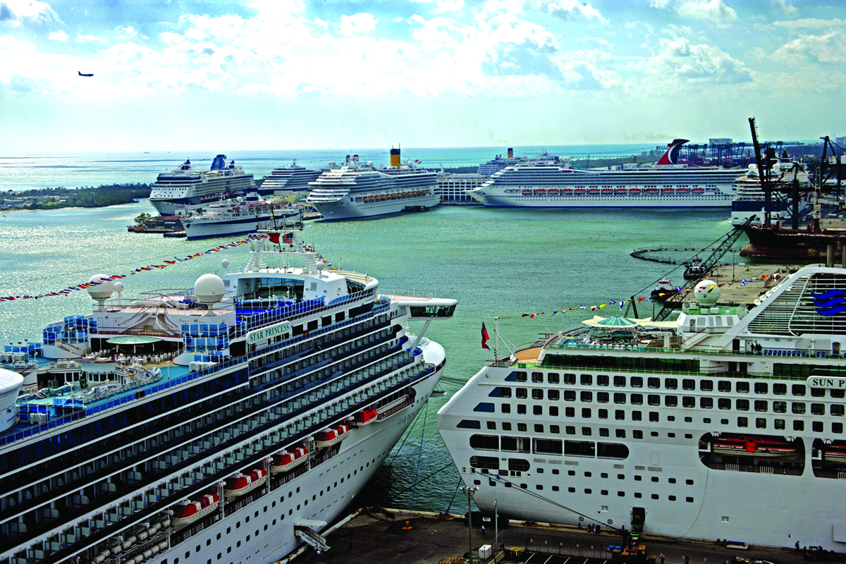 Port Everglades bustles with cargo and cruise ships
