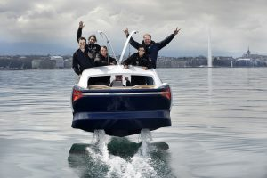 The SeaBubbles crew goes for a spin on Lake Geneva