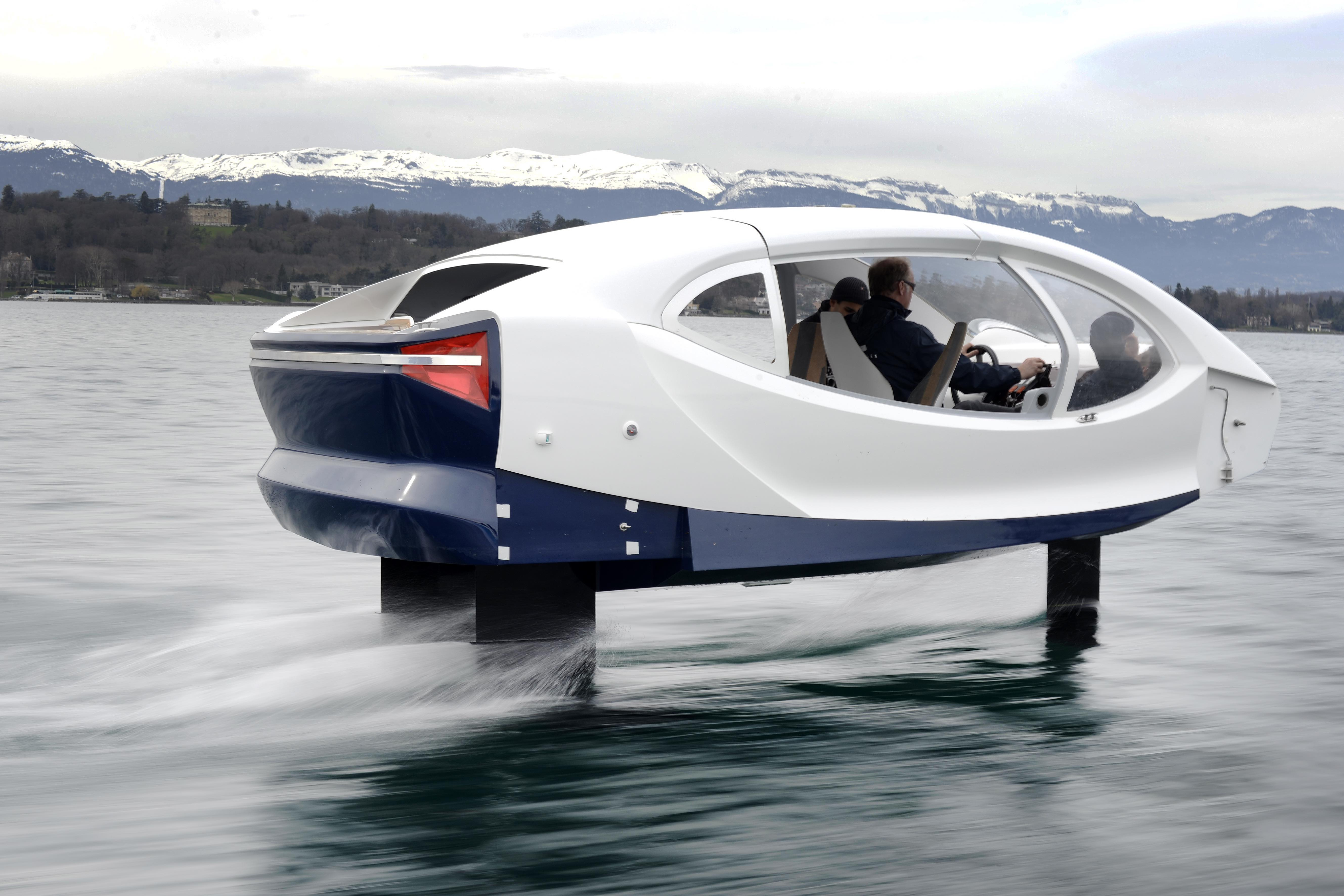 One of the SeaBubbles rises out of the water as it picks up speed