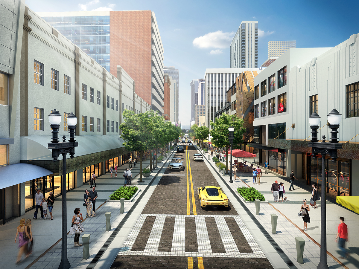 New Streetscape Developer Moishe Mana is trying to jumpstart the troubled redesign of Flagler Street with a curbless concept that would facilitate street fairs. His company recently signed Miami International University of Art and Design as a tenant on the street. (Image courtesy of Curtis and Rogers)
