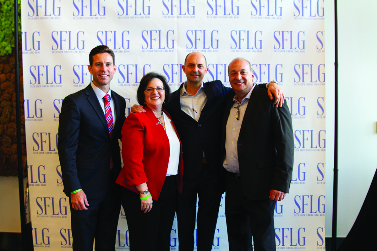 SFBW Associate Publisher Clayton Idle; Teri Kaye, partner in charge of the Fort Lauderdale office of Daszkal Bolton; Michael Daszkal, managing partner of Daszkal Bolton and Gary Press, chairman and CEO of SFBW and Lifestyle Media Group. Daszkal Bolton sponsored the event.