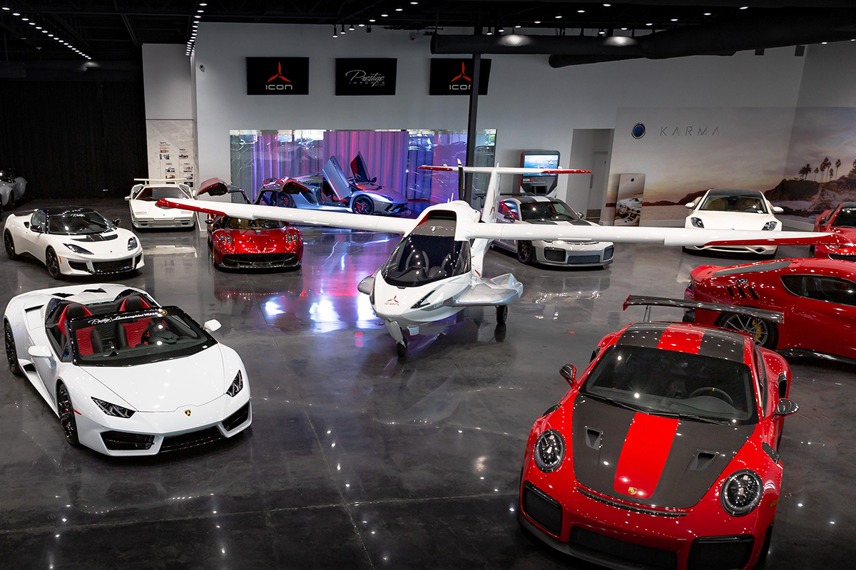 Exotic aircraft, too Prestige Imports has added the Icon A5 aircraft to its showroom of exotic cars in its North Miami Beach. The two-seater can go up to 109 mph and offers a spin-resistant airframe, a low stall speed, a whole plane parachute system and an angle of attack indicator. The wings fold back so it can be towed by a car or truck.