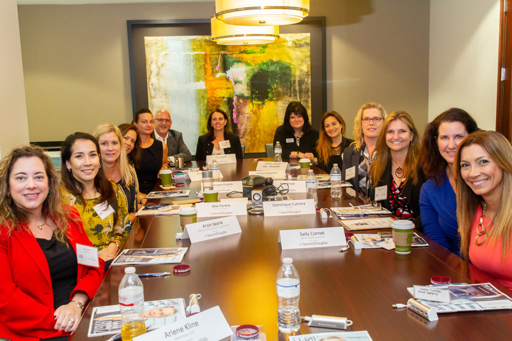 Arlene K. Klined of Akerman, Kristen Searle of SBA Communications, Jess Forero of SunTrust, Manuela Gavilan Vicente of Baptist Health South Florida, Elisabeth Stark of Stark HR Solutions, Alan Berger of StevenDouglas, Julie Seydlitz of MSC Cruises, Tammy Davidson of Right Management Florida/Caribbean, Barbara Repandis of Kelley Kronenberg, Amy Kropp of Keter, Dominique Cultrera of Veriato, Sally Cornet of Sentry Data Systems and Jackie Gallego of Bilzin Sumberg